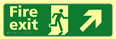 Fire exit man running arrow up / right - TaktylePh 450 x 150mm sign