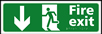 Fire exit man running arrow down - Taktyle Sign 450 x 150mm