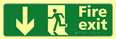 Fire exit man running arrow down - TaktylePh 450 x 150mm
