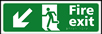 Fire exit man running arrow down / left - Taktyle Sign 450 x 150mm