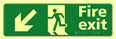Fire exit man running arrow down / left - TaktylePh 450 x 150mm