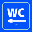 WC arrow left - Taktyle Sign 150 x 150mm