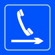 Telephone graphic arrow right - Taktyle Sign 150 x 150mm