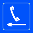 Telephone graphic arrow left - Taktyle Sign 150 x 150mm