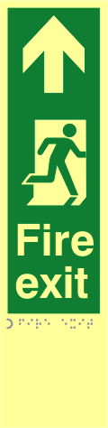 Fire exit man right arrow up - TaktylePh 75 x 300mm sign