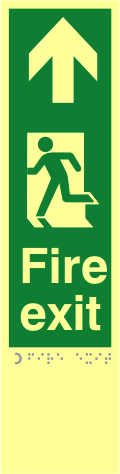 Fire exit man left arrow up - TaktylePh 75 x 300mm