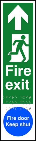 Fire exit man right arrow up / Fire door Keep shut - Taktyle 75 x 300mm