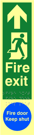 Fire exit man right arrow up / Fire door Keep shut - TaktylePh 75 x 300mm