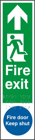 Fire exit man left arrow up / Fire door Keep shut - Taktyle 75 x 300mm