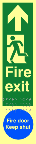 Fire exit man left arrow up / Fire door Keep shut - TaktylePh 75 x 300mm