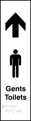 Gents toilets arrow up - Taktyle 75 x 300mm
