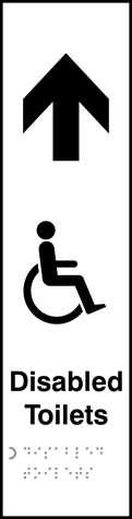 Disabled toilets with graphic arrow up - Taktyle 75 x 300mm
