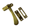 4 1 / 4 inch Polished Brass Victorian Reversible Hook / Mortice Plate Casement Fastener