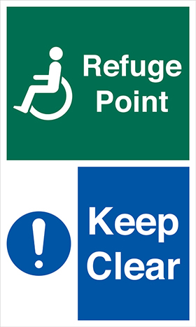 Refuge point keep clear sign.