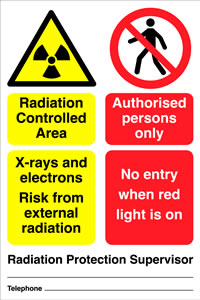 Radiation controlled area x rays and electrons risk from external radiation authorised personnel only no entry when red light is on sign.