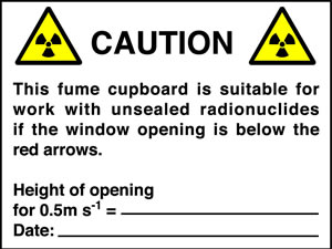 Caution this fume cupboard is suitable for work with unsealed radionucides if the window opening is below the red arrows sign.
