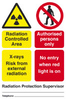 Radiation controlled area x rays risk from external radiation authorised personnel only no entry when red light is on sign.