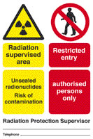 Radiation supervised area unsealed radionuclides risk of contamination restricted entry authorised persons only sign.