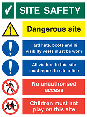 Site safety board-under the health & safety at work act sign.