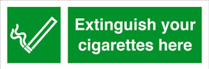Extinguish your cigarettes here sign.