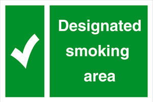 Designated smoking area sign.