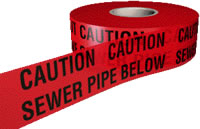 caution sewer pipe below 150mmx365m sign.