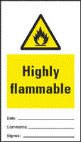 Highly flammable - pack of 10 tags.