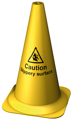 Yellow - caution slippery surface 495mm cone sign.