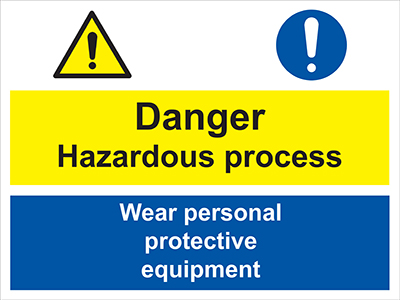 Danger hazardous substances - wear sign.