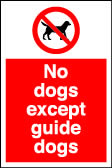 No guide dogs except guide dogs sign.