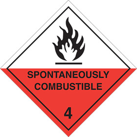 Spontaneously combustible 4 sign.