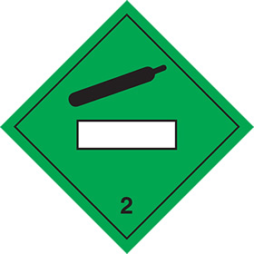 As da61 but rigid and magnetic Compressed gas symbol 2 sign.