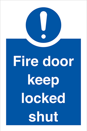 Fire door keep locked shut sign.