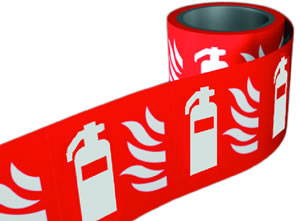 Extinguisher symbol. 100 x 100mm self adhesive labels on roll of 100 labels. sign.
