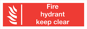 Fire hydrant keep clear sign.