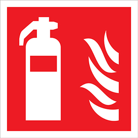 fire extinguisher and flame symbol sign.