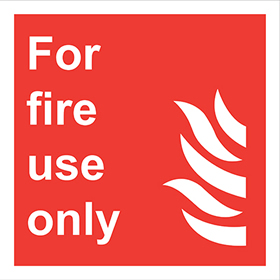 for fire use only flame symbol sign.