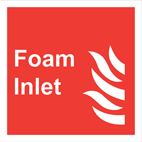 Foam inlet flame symbol sign.