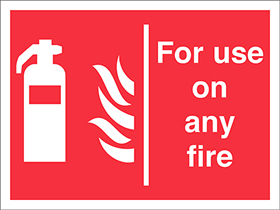 for use on any fire extinguisher flames sign.