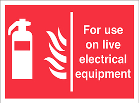 for use on live electrical equipment extinguisher flames sign.