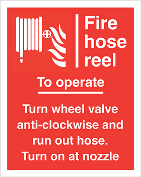 Fire hose reel to operate turn wheel valve anti-clockwise and run out hose turn off at nozzlehose flames symbols sign.