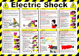 """Electric shock """"first aid"""" series of posters"" sign."