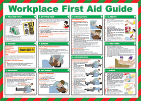 """Workplace first aid guide """"first aid"""" series of posters"" sign."