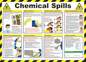 """Chemical spills """"first aid"""" series of posters"" sign."