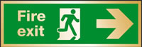 Fire exit man running and arrow right)brass effect. sign.