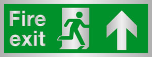 Fire exit man at door up arrow) Brass effect sign.