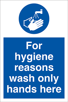 for hygiene reasons wash only hands here sign.