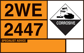 Self adhesive hazchem tanker plate sign.