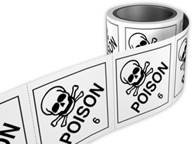 Poison 3 labels. 100 x 100mm self adhesive labels on roll of 250 labels. sign.