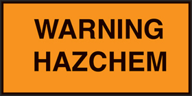 Site location plate warning hazchem sign.